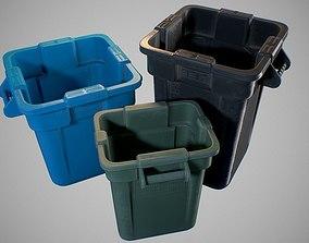 3D model storage Plastic Trash Bin - Game ready prop