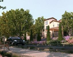 villa 3d model animated