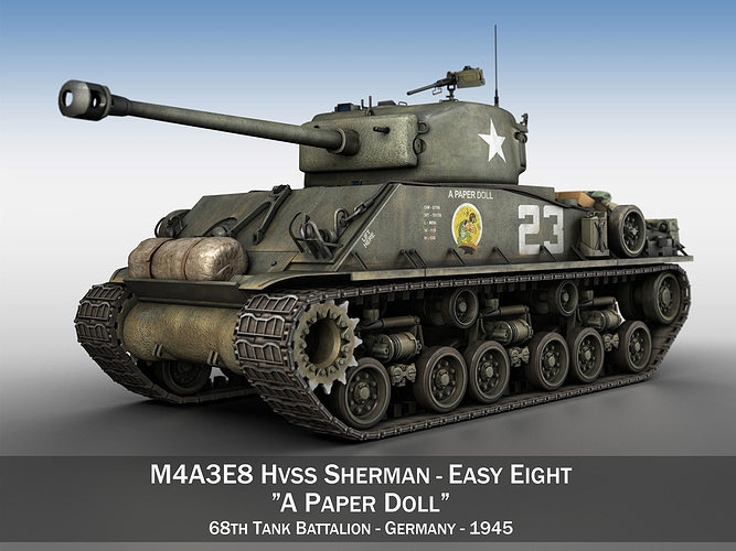 m4a3e8 sherman - easy eight - a paper doll 3d model obj 3ds fbx c4d lwo lw lws mtl 1