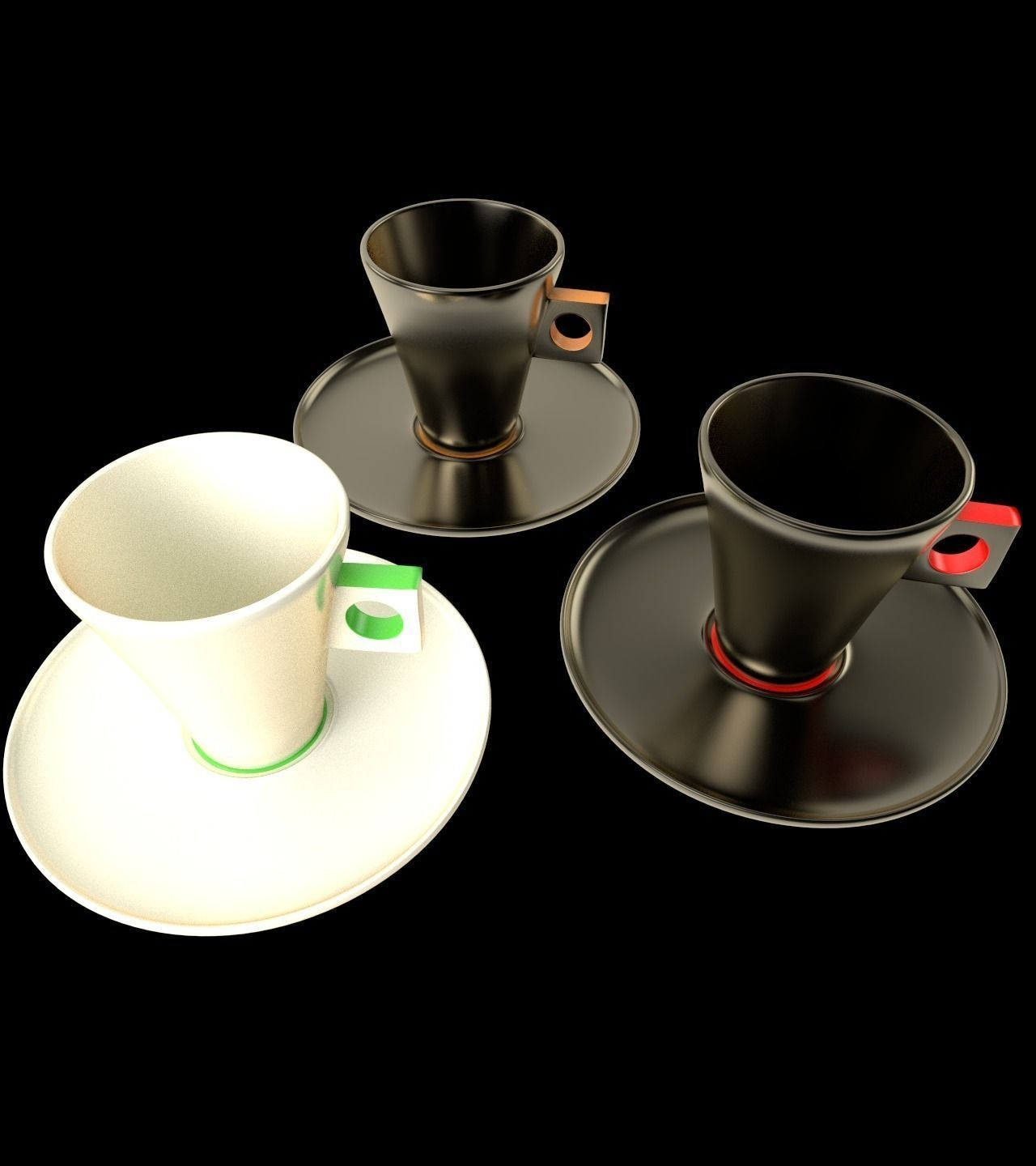 3D Nescafe Capuccino cups with saucers | CGTrader