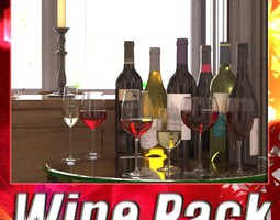 3d model 6 wine bottles and 6 wine glasses