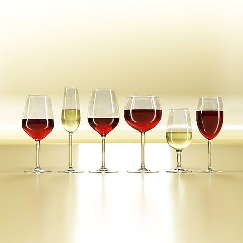 6 wine glass collection 3d model max obj 3ds fbx 3