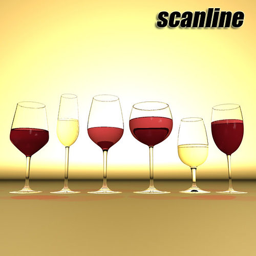 6 wine glass collection 3d model max obj 3ds fbx mtl mat 28