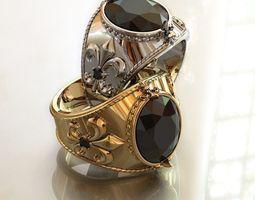 Fler de lis ring - 2 sizes same price 3D printable model