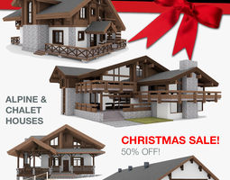 European Chalet Houses 4 in 1 Collection 3D