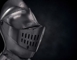 3D model game-ready Medieval Knight Armet Helmet