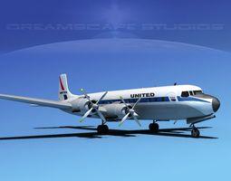3D model Douglas DC-7C United Airlines