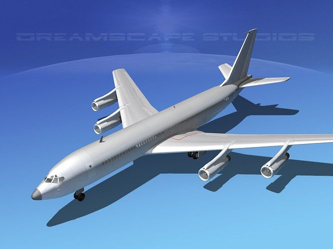 boeing 707 bare metal 3d model max obj mtl 3ds lwo lw lws dxf stl 1