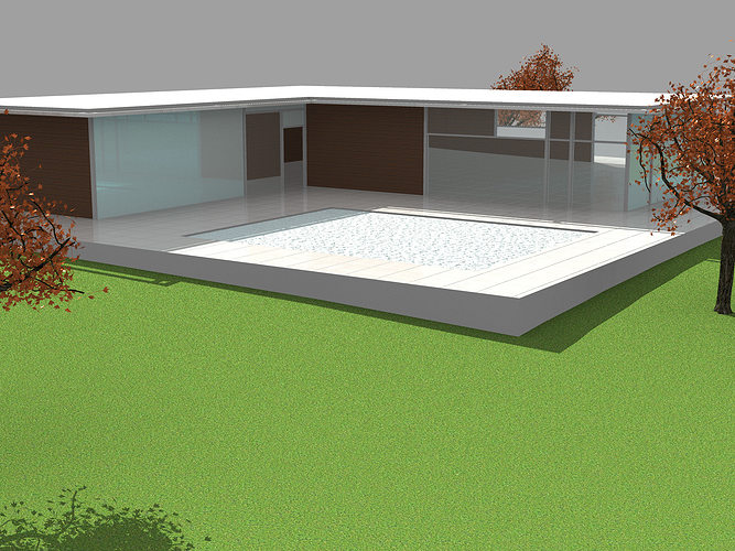 3d model simple modern house cgtrader for Minimalist house 3d model