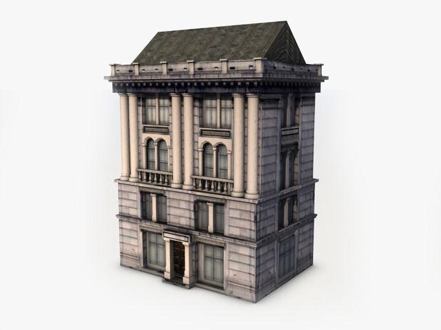 3d Model Classic Building Vr Ar Low Poly Max Obj 3ds