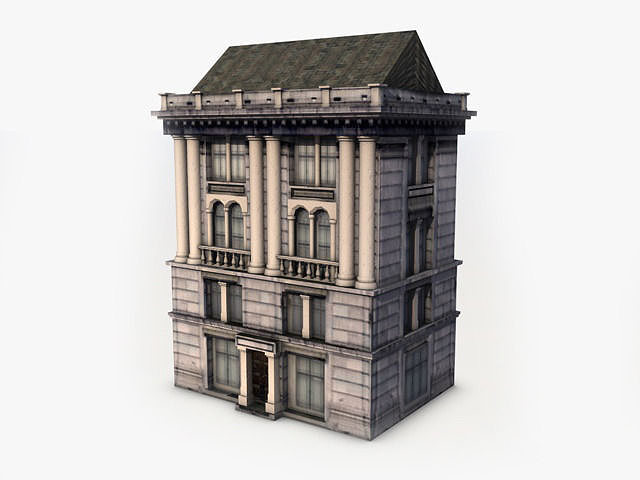3d Model Classic Building Vr Ar Low Poly Max Obj 3ds