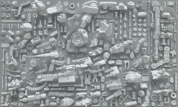 kit bash-272 pieces- part3 3d model max obj fbx stl 1