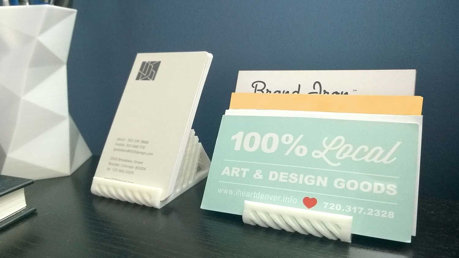 015c - Business Card Holder - Tiered - 3D print model 2