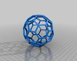 3D printable model skeleton bucky ball