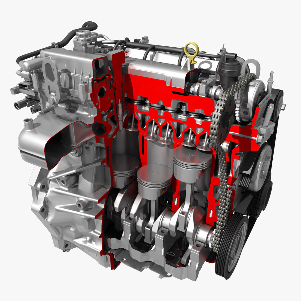 car 4 cylinder engine cutaway 3d model max obj