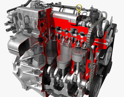 Car 4 Cylinder Engine Cutaway 3D Model