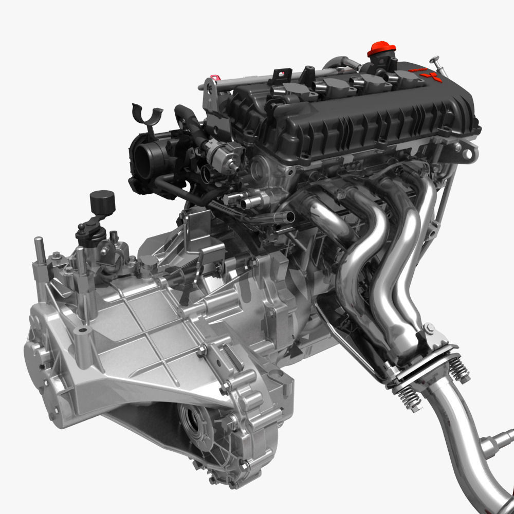 Engine with Transmission Exhaust