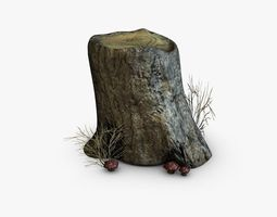 3d asset low-poly stump and mushrooms