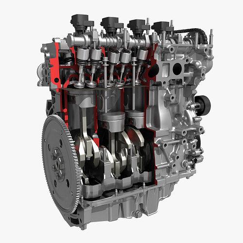 3D 4 Cylinder Engine Block Cutaway | CGTrader