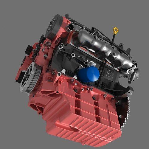 Model Car With Engine: Car V6 Engine 3D Model MAX OBJ