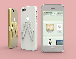 3d print model iphone 5 angel wings case