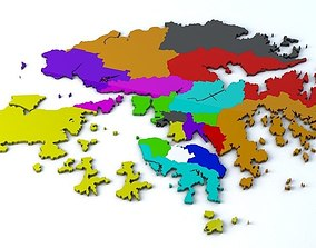 3D model geographical Hong Kong 18 Districts
