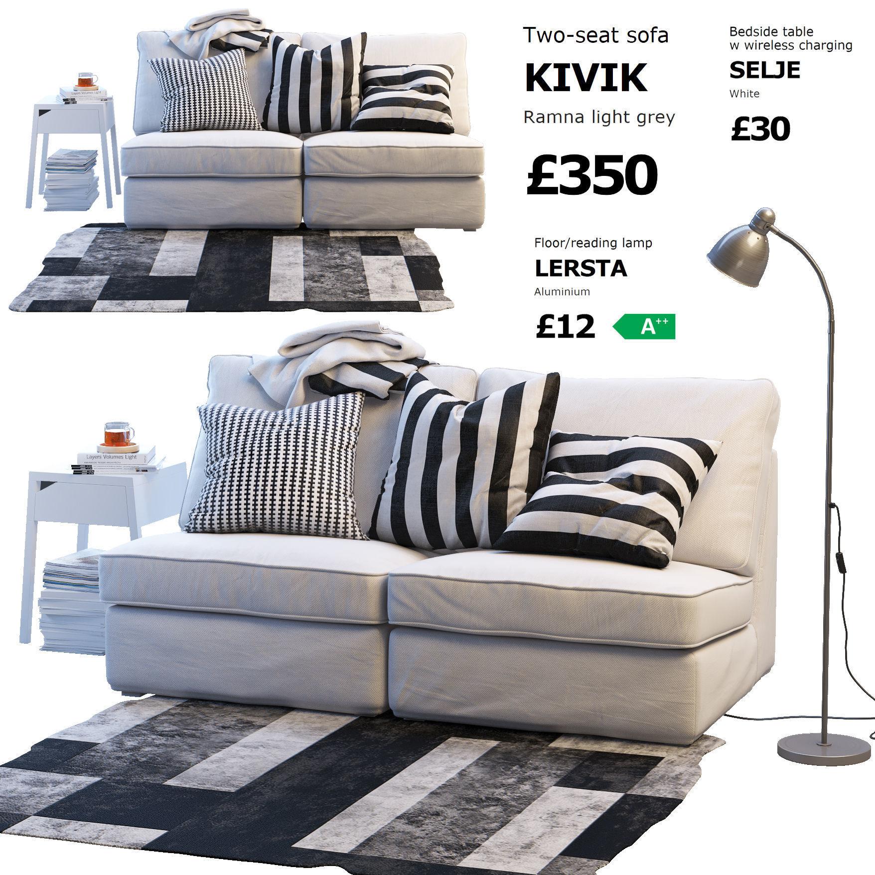 Two Seat Sofa Ikea Kivik 1 3d Model Max Obj Fbx Mtl ...