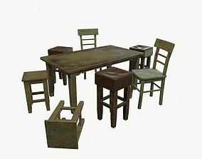 3D asset low-poly Old furniture set