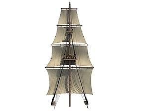 3D model White Sailing Ship Mast 2
