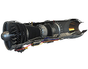 Turbofan Aircraft Engine Cutaway 3D model