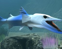killer barracuda animated 3d model low-poly