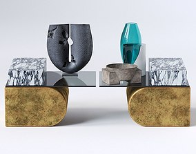 UNSETTLED CANTILEVER TABLE and Decor set 3D