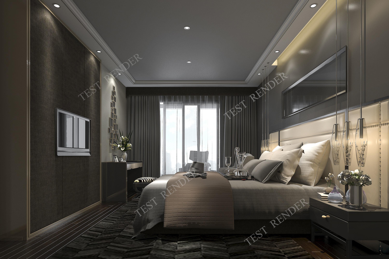 3d modern luxury modern bedroom suite in hotel with dark style   3D model