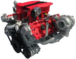 3D model Turbocharged V8 Engine