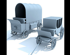 Detailed Old West Carriages 3D