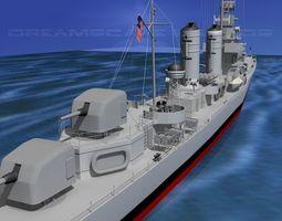 3D model Gleaves Class Destroyer USS McCook DD496