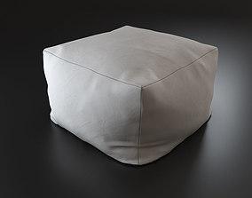 3D Comfortable white linen pouf