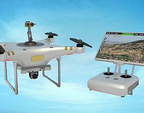 3D model Drone with Turret and Controller
