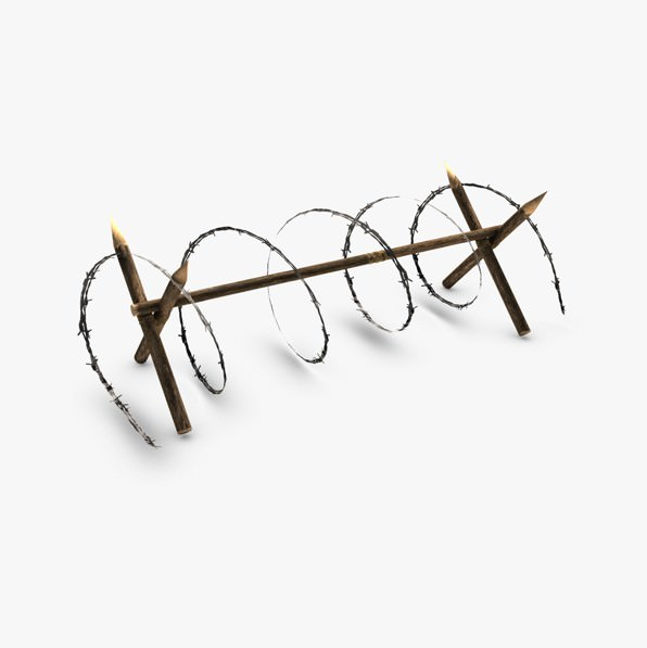 Low poly barbed wire barricade