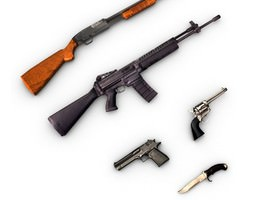 Low poly weapons pack collection 3D