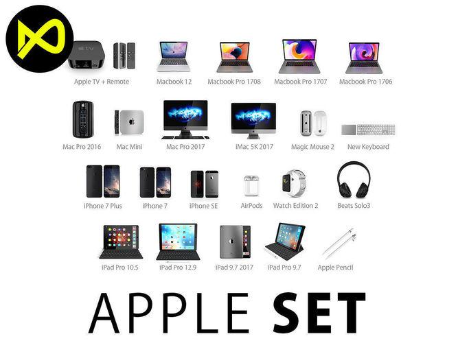 apple complete set 2017 3d model max obj mtl 3ds fbx c4d lwo lw lws 1
