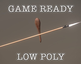 3D asset Spear And Club low poly game ready