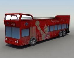 3D asset low-poly NYC Tour Bus