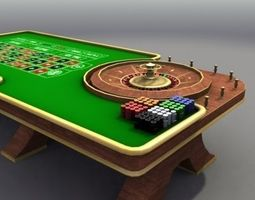 3D model VR / AR ready Casino Roulette Table