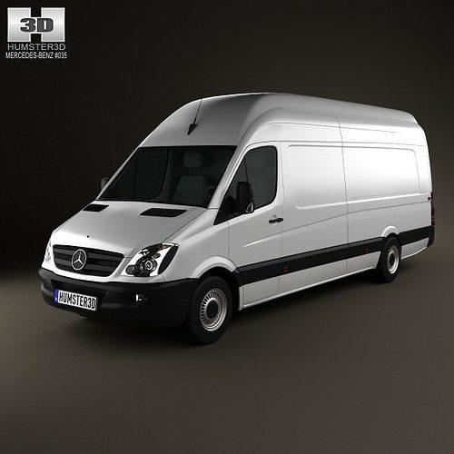 mercedes-benz sprinter panelvan extralong 2011 3d model max obj 3ds fbx c4d lwo lw lws 1