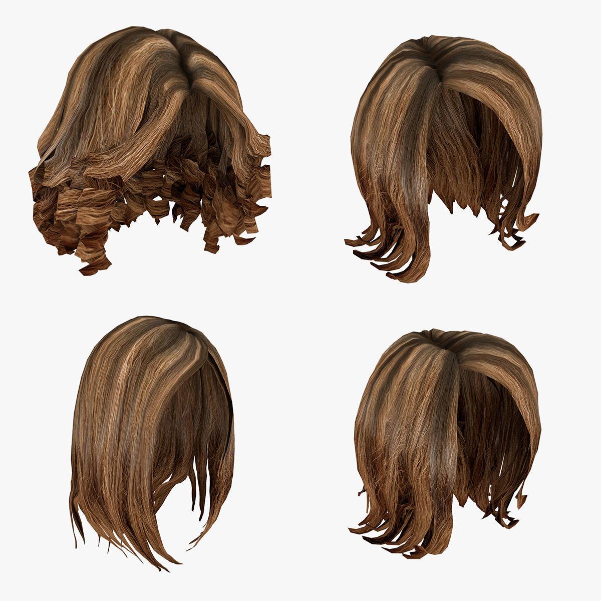Female hairstyle hair pack  4D model