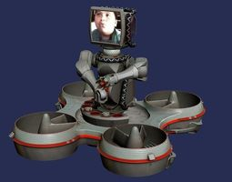 animated hoverbot trackbot robot 3d model realtime
