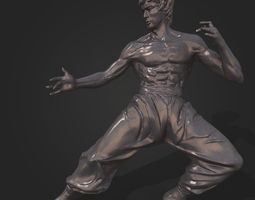 low-poly bruce lee statue 3d model