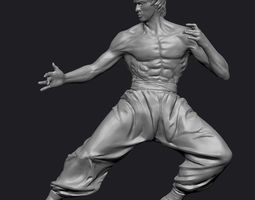 bruce lee statue zbrush 3d