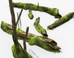 decayed tree bark with moss 3d model